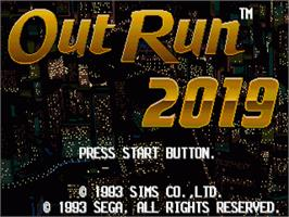 Title screen of Out Run 2019 on the Sega Genesis.