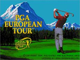 Title screen of PGA European Tour on the Sega Genesis.