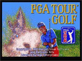 Title screen of PGA Tour Golf on the Sega Genesis.