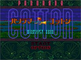 Title screen of Panorama Cotton on the Sega Genesis.