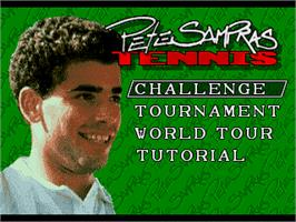 Title screen of Pete Sampras Tennis on the Sega Genesis.