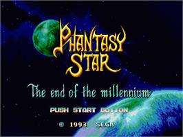 Title screen of Phantasy Star: The End of the Millenium on the Sega Genesis.
