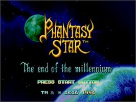 Title screen of Phantasy Star 4 on the Sega Genesis.
