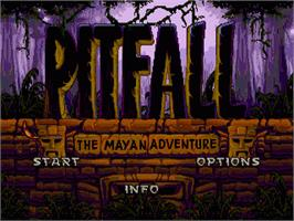 Title screen of Pitfall: The Mayan Adventure on the Sega Genesis.