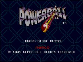 Title screen of Power Ball on the Sega Genesis.
