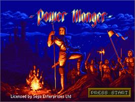 Title screen of Powermonger on the Sega Genesis.