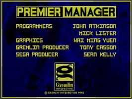 Title screen of Premier Manager on the Sega Genesis.
