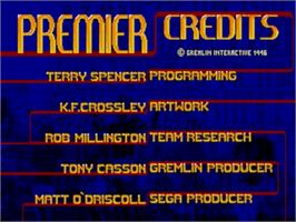 Title screen of Premier Manager 97 on the Sega Genesis.