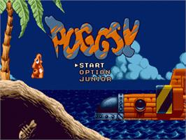 Title screen of Puggsy on the Sega Genesis.