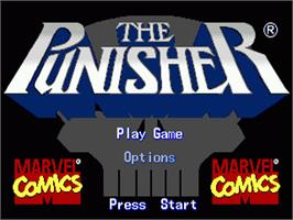 Title screen of Punisher, The on the Sega Genesis.