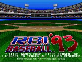 Title screen of R.B.I. Baseball '93 on the Sega Genesis.