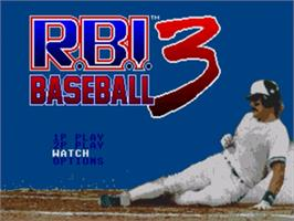 Title screen of RBI Baseball 3 on the Sega Genesis.