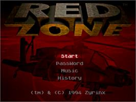 Title screen of Red Zone on the Sega Genesis.