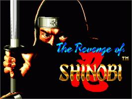 Title screen of Revenge of Shinobi, The on the Sega Genesis.