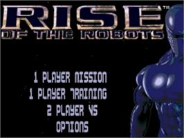 Title screen of Rise of the Robots on the Sega Genesis.