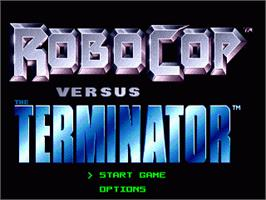 Title screen of Robocop vs. the Terminator on the Sega Genesis.