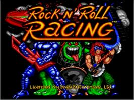 Title screen of Rock 'n Roll Racing on the Sega Genesis.