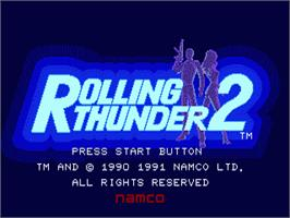 Title screen of Rolling Thunder 2 on the Sega Genesis.