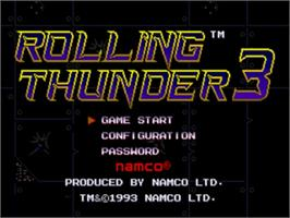Title screen of Rolling Thunder 3 on the Sega Genesis.