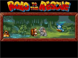Title screen of Rolo to the Rescue on the Sega Genesis.