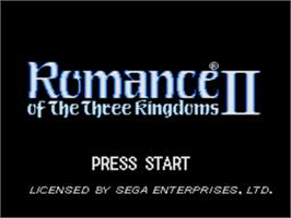 Title screen of Romance of the Three Kingdoms 2 on the Sega Genesis.