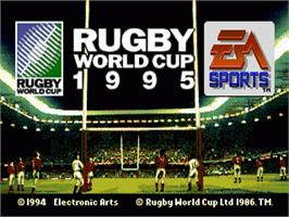Title screen of Rugby World Cup 95 on the Sega Genesis.