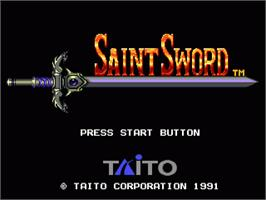 Title screen of Saint Sword on the Sega Genesis.