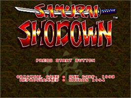Title screen of Samurai Shodown / Samurai Spirits on the Sega Genesis.