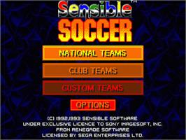 Title screen of Sensible Soccer: European Champions: 92/93 Edition on the Sega Genesis.