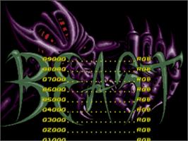 Title screen of Shadow of the Beast on the Sega Genesis.