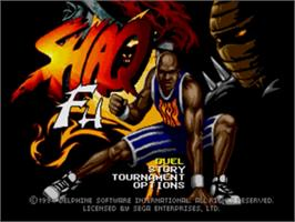 Title screen of Shaq Fu on the Sega Genesis.