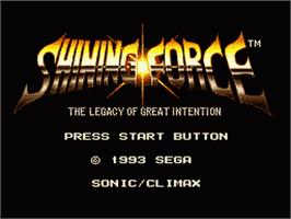 Title screen of Shining Force: The Legacy of Great Intention on the Sega Genesis.