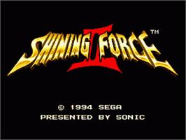 Title screen of Shining Force 2 on the Sega Genesis.