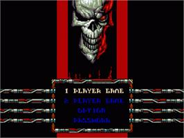 Title screen of Skeleton Krew on the Sega Genesis.