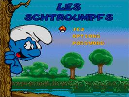 Title screen of Smurfs, The on the Sega Genesis.