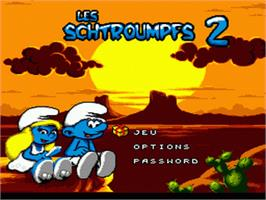 Title screen of Smurfs Travel the World, The on the Sega Genesis.