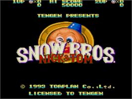 Title screen of Snow Bros. Nick & Tom on the Sega Genesis.