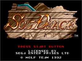 Title screen of Sol-Feace on the Sega Genesis.