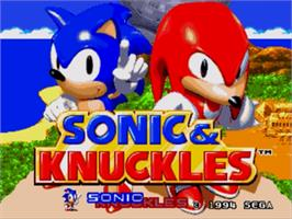 Title screen of Sonic & Knuckles on the Sega Genesis.