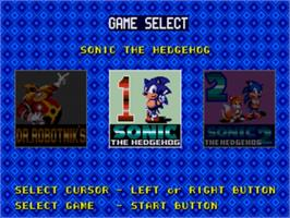 Title screen of Sonic Classics on the Sega Genesis.