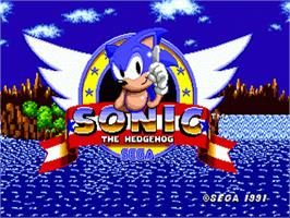 Title screen of Sonic The Hedgehog on the Sega Genesis.