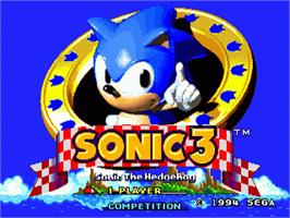 Title screen of Sonic The Hedgehog 3 on the Sega Genesis.