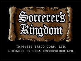 Title screen of Sorcerer's Kingdom on the Sega Genesis.