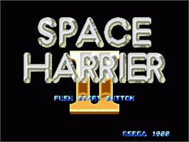Title screen of Space Harrier II on the Sega Genesis.