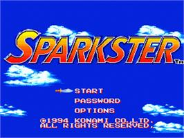 Title screen of Sparkster on the Sega Genesis.