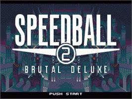 Title screen of Speedball 2: Brutal Deluxe on the Sega Genesis.