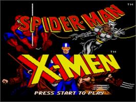Title screen of Spider-Man and the X-Men: Arcade's Revenge on the Sega Genesis.