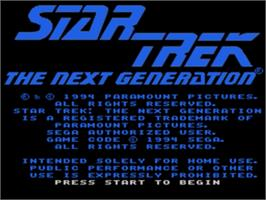 Title screen of Star Trek The Next Generation - Echoes from the Past on the Sega Genesis.