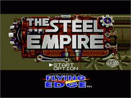 Title screen of Steel Empire, The on the Sega Genesis.