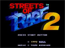 Title screen of Streets of Rage 2 on the Sega Genesis.